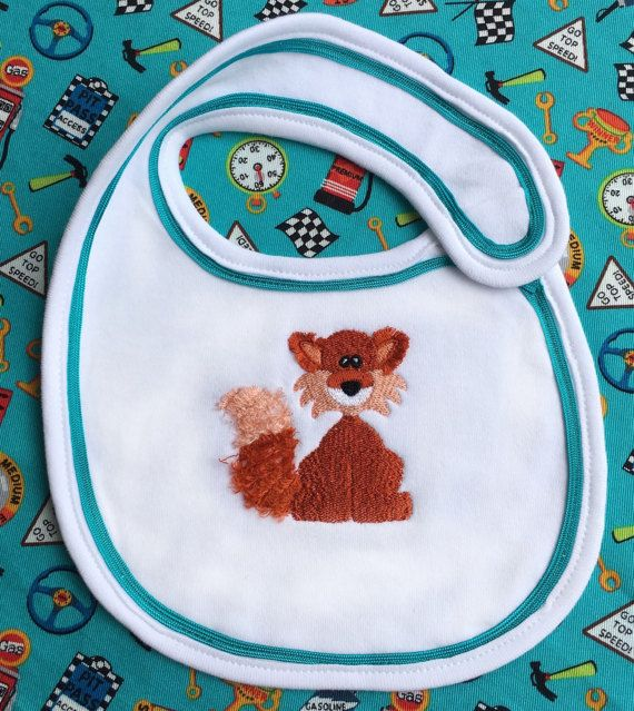Embroidered fox baby bib baby bib girls bib by Pobblebonksdesigns