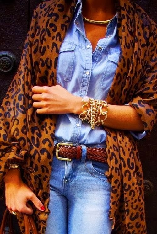 Chmabray shirt with Leopard shawl