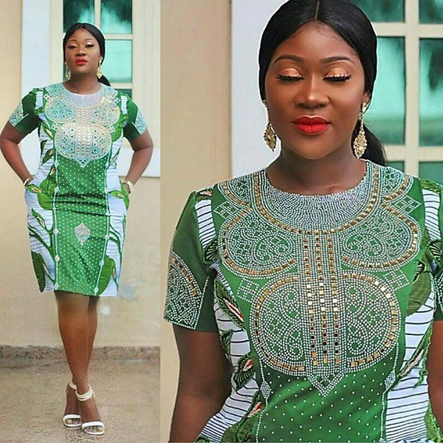 Stoned Ankara Styles are the new trends this year. Most ladies might not be aware of this, stones are attached to the ankara fabric to bring out an amazing