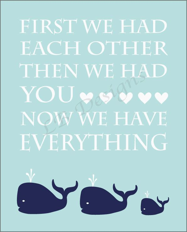 Navy Blue and Baby Blue Whale Nursery Quote Print - 8x10