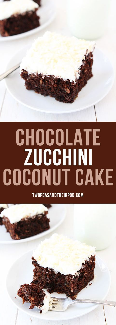 Chocolate Zucchini Coconut Cake-this decadent chocolate cake is made with zucchini, coconut, and topped with a sweet toasted coconut frosting! This cake is a MUST make for zucchini season!