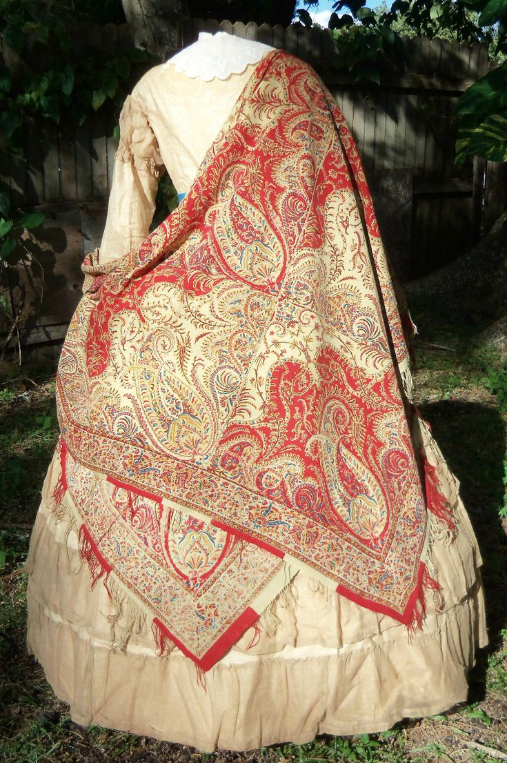 Early Victorian Roller Printed Shawl C 1840s | eBay beautiful!