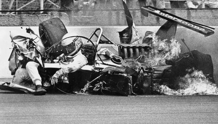 Being known for having car in a perpetual side slide, Danny Ongais had a very nasty accident. Note Danny's limp body still in the wreckage.