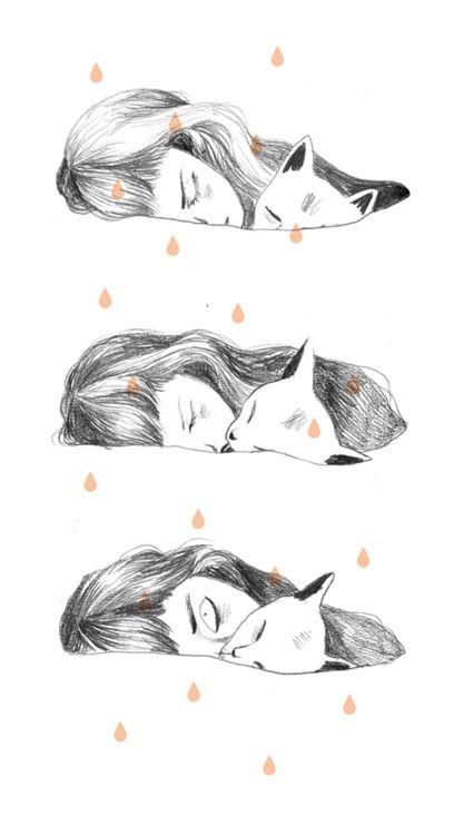 #sleep #cat #girl