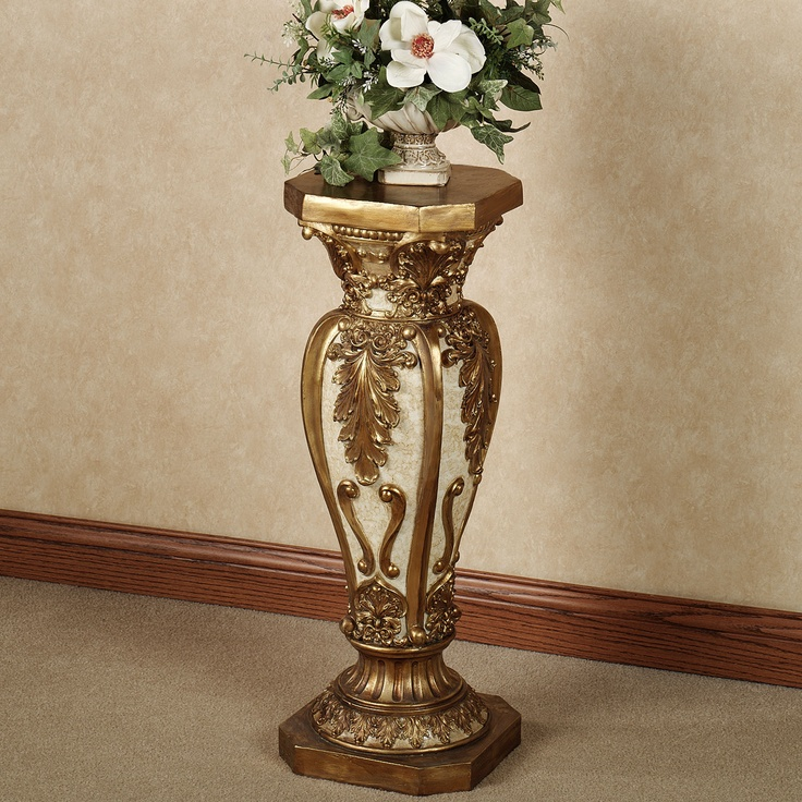 Arella Column Pedestal Gold Ivory Large Victorian