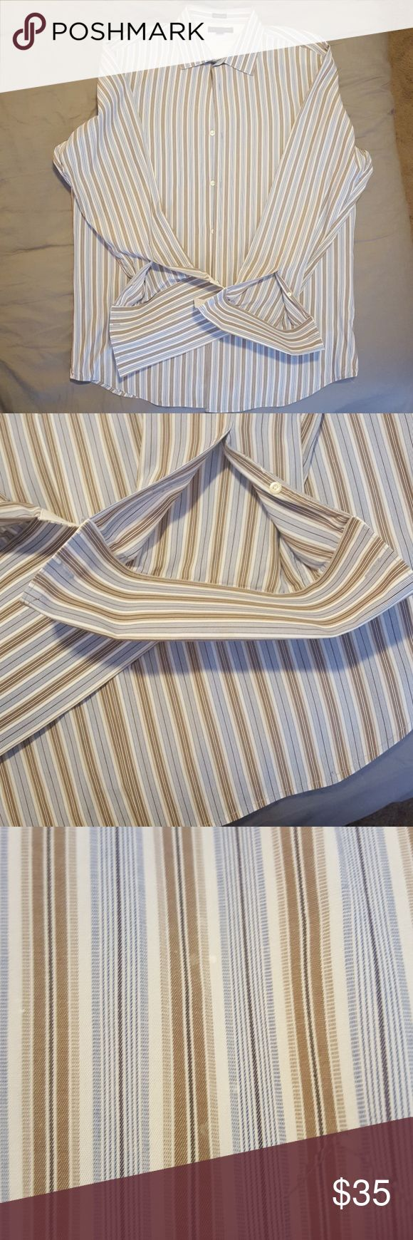 Banana Republic dress shirt EUC practically brand new Banana Republic men's dress shirt. Only ever dry cleaned. Has holes for cufflinks on sleeves. Size XL 17-17.5 Few starch dots from drycleaner if you look closely, but won't see them is you're not looking (see pic 3 &4). Great with solid tie! Dress up or dress down. (Tie not included) Banana Republic Shirts Dress Shirts