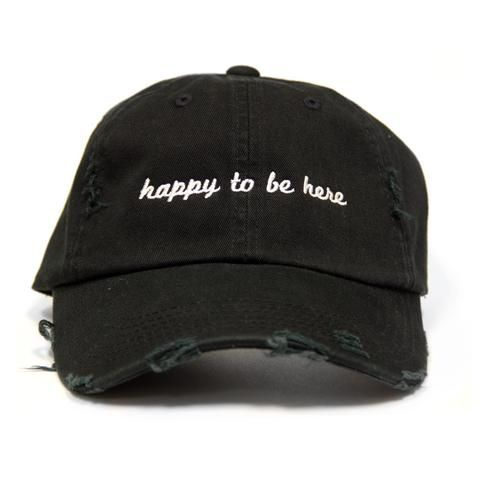 2e413fa2309 Happy To Be Here Black Distressed Hat