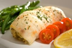 Flounder stuffed with spinach and feta