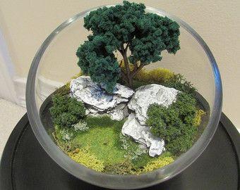 Small Glass Terrarium with Petrified Wood by UniqueTerrarium
