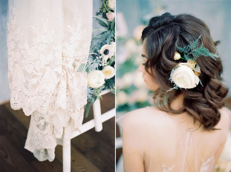 Gorgeous loose bridal wedding hairstyle | Blue Watercolor wedding inspiration | Photography : yaroslavandjennyphotography.com/ | Read more #weddinginspiration on fabmood.com: