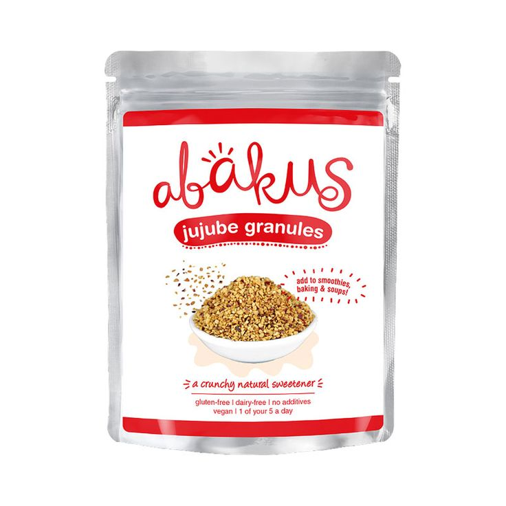 Abakus Jujube Granules 50g. Our jujube fruits taste sweet, soft and chewy. This superfood is packed with antioxidants and phytonutrients, and are known to help uplift the mood, calm the mind, improve sleep, and boost the immune system. They are beneficial for overall health and vitality. The fresh fruit has 20x more vitamin C than citrus fruits!  Enjoy the jujube fruit as a snack, or as a natural sweetener in porridge, cooking, baking, smoothies.