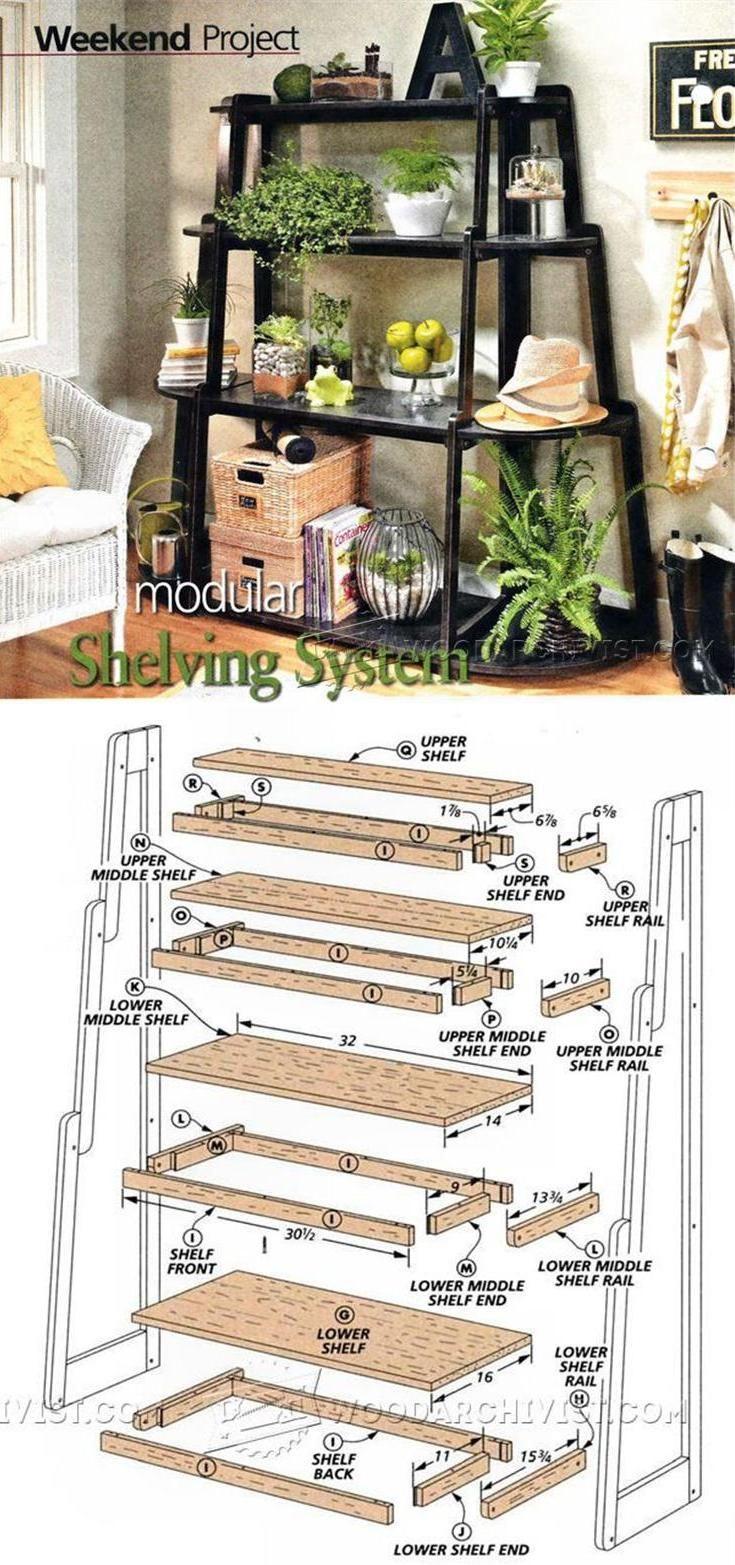 Modular shelving system plans woodworking plans and for Planos de carpinteria