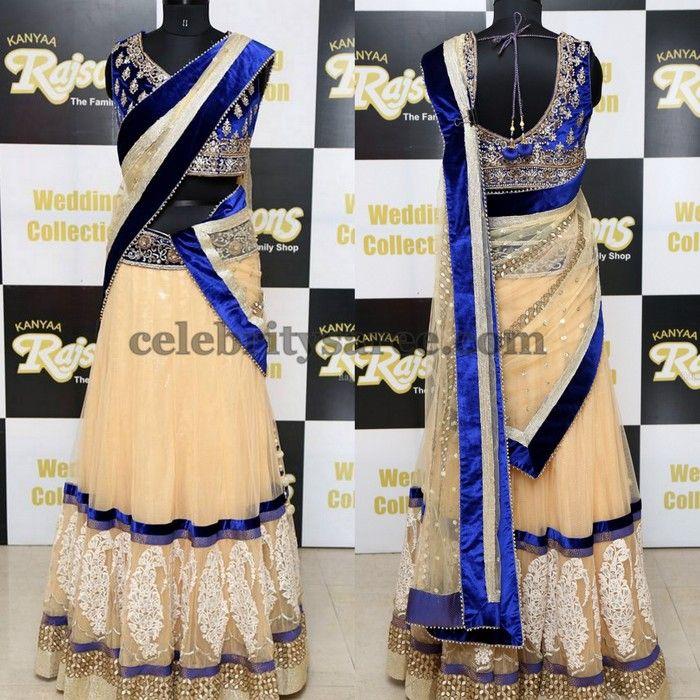 Cream Blue Half Sari by Kanya | Saree Blouse Patterns