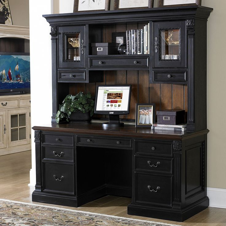 Riverside Weybridge Credenza Computer Desk with Hutch - Cherry/Black - Relaxed sophistication and richness combine in the timeless Riverside Weybridge Credenza Computer Desk With Hutch - Cherry and Black. Constructed of p...