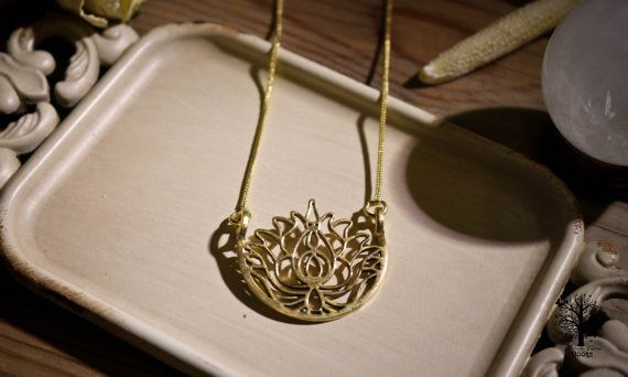 Röötz Lotus Flower Goddess necklace ,tribal necklace,brass jewelr, Tribal Jewellery, Ethnic Jewelry, brass necklace ,lotus flower pendant