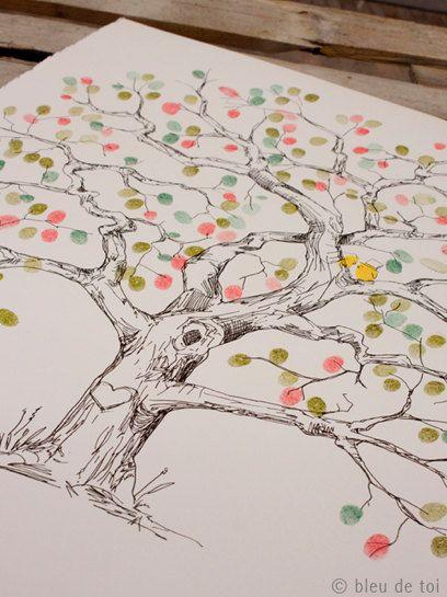 Hochzeitsbaum mit Fingerabdrücken aller Gäste