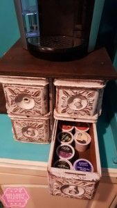 Repurposed Sewing Drawers K-Cup Storage