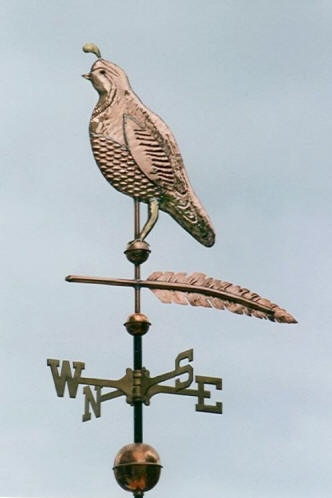 Quail Weather Vane Traditional with Feather by West Coast Weather Vanes.  This Valley Quail of California is made in a more traditional sculpture piece.