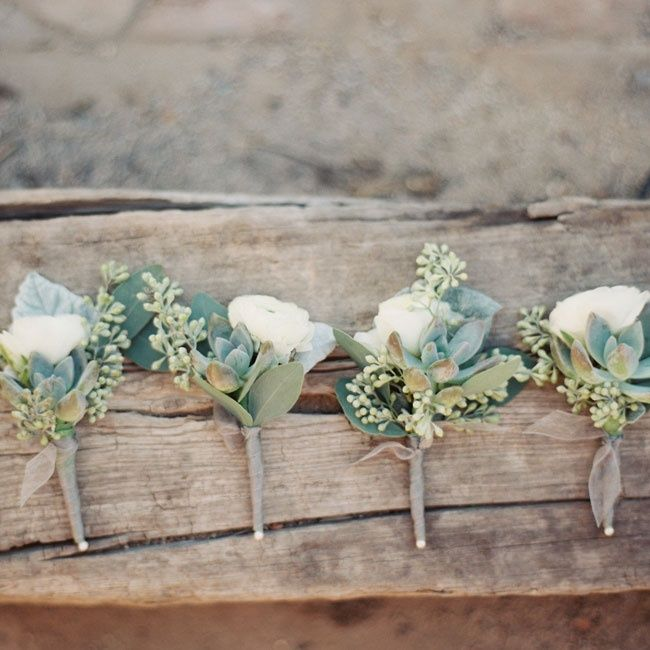 Beautiful white and green boutonnieres | Brushfire Photography | Fleurt Floral Art | www.theknot.com