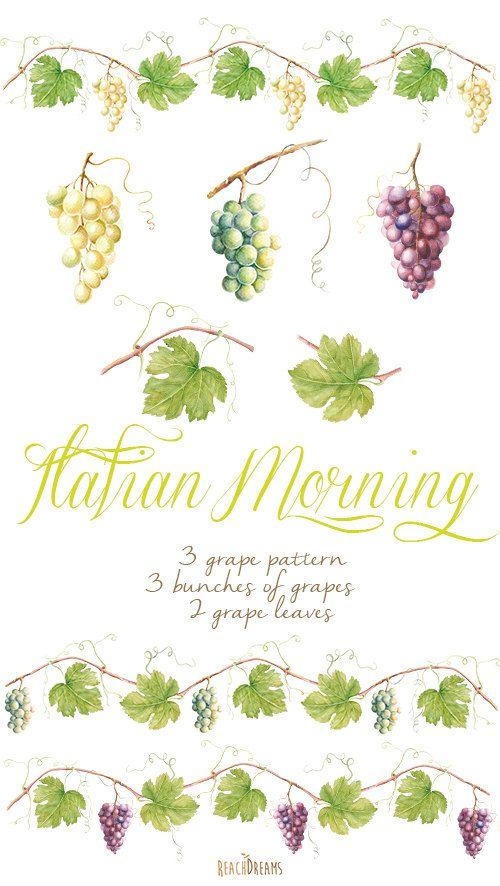 Watercolor Grapes & leaves. Vine Borders DIY от ReachDreams