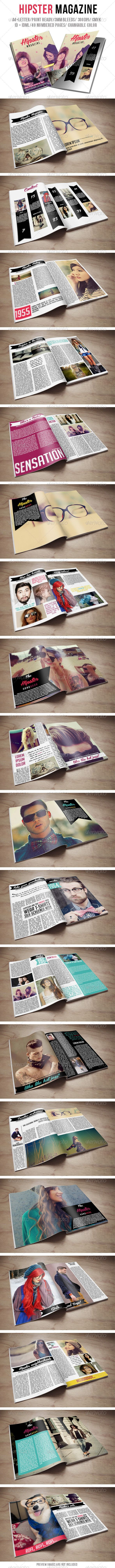 Hipster Magazine #GraphicRiver In-design CS6 + Idml CS5 or lower Beautiful ID Hipster Magazine template which you can use for any other category of magazines. Easy to customize, just drop in your own text and pictures and you are ready to go. Help file included. Preview pictures are not included. Free font used. Fully In-design and idml files include in main folder. 40 nubered pages size A4 + letter CMYK 3mm bleeds print ready