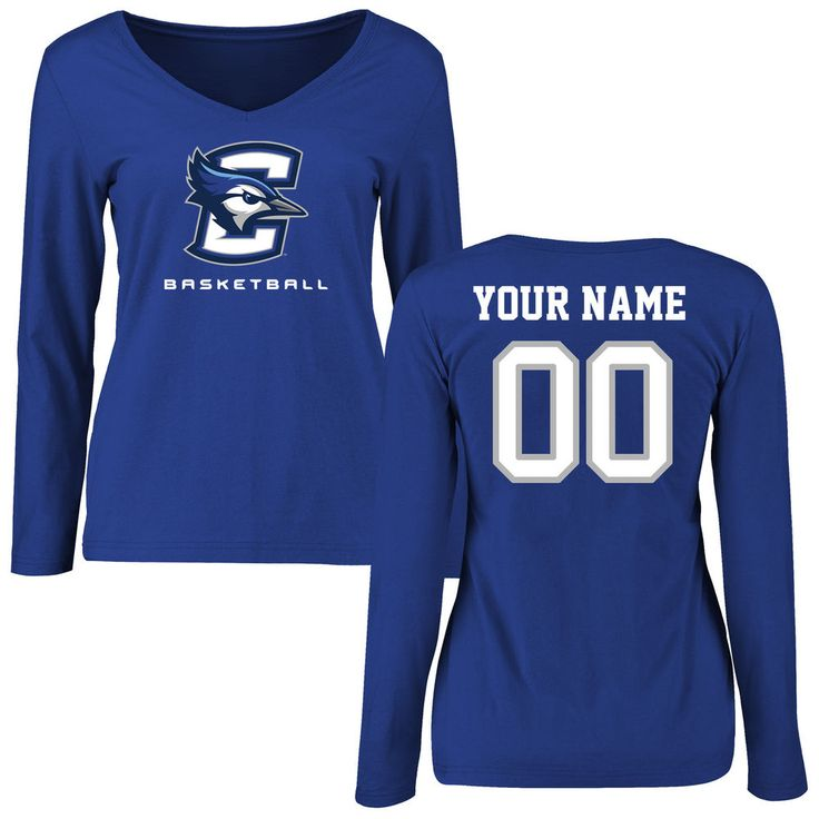 Creighton Bluejays Women's Personalized Basketball Slim Fit Long Sleeve T-Shirt - Royal