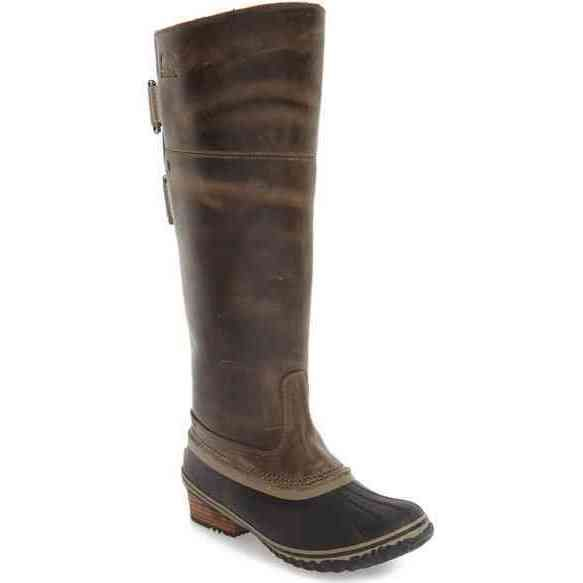 Sorel Women's Slimpack Riding Tall II Brown and Black and Rubber Boots