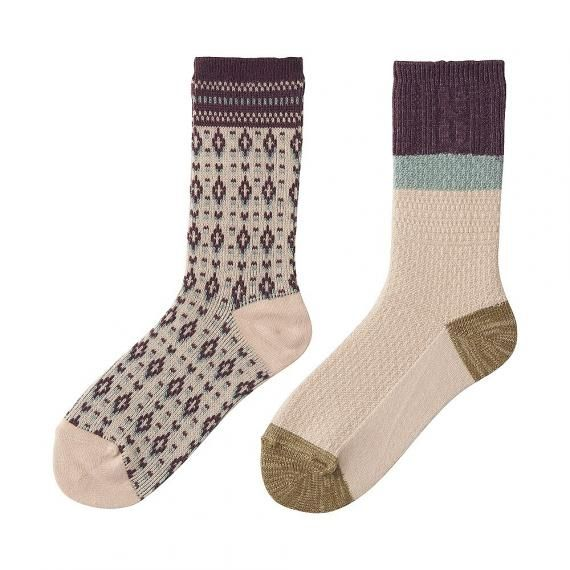 $14.90 Uniqlo WOMEN HEATTECH Socks 2P(Fair Isle)