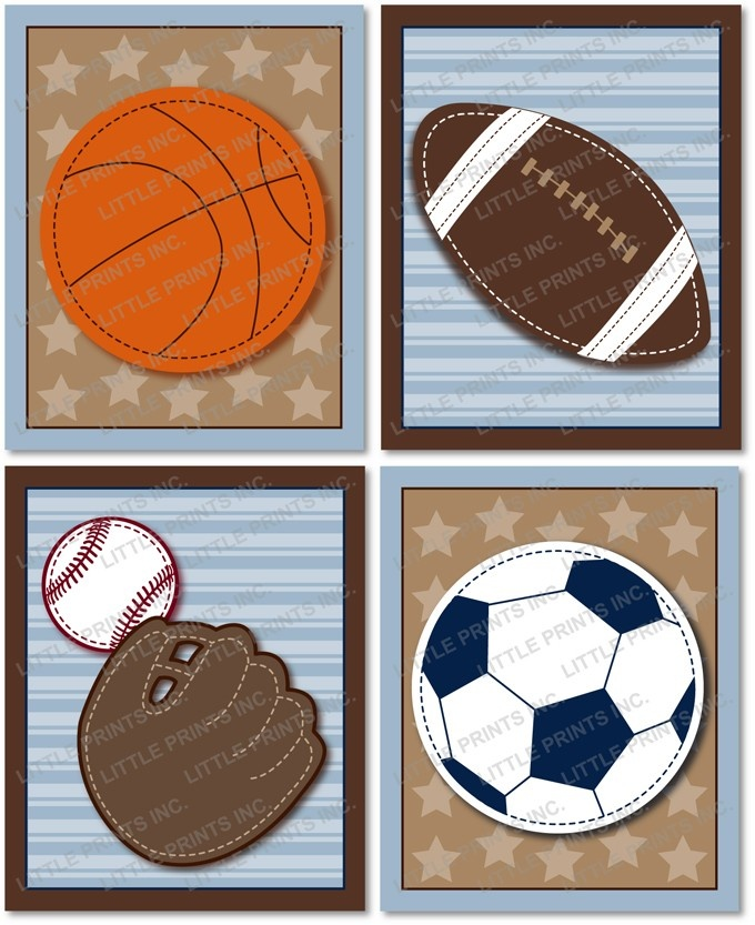 Varsity Sports Ball Football Baseball Soccer Basketball Printable Nursery Wall Art Jpegs 8X10 or 5X7. $8.00, via Etsy.