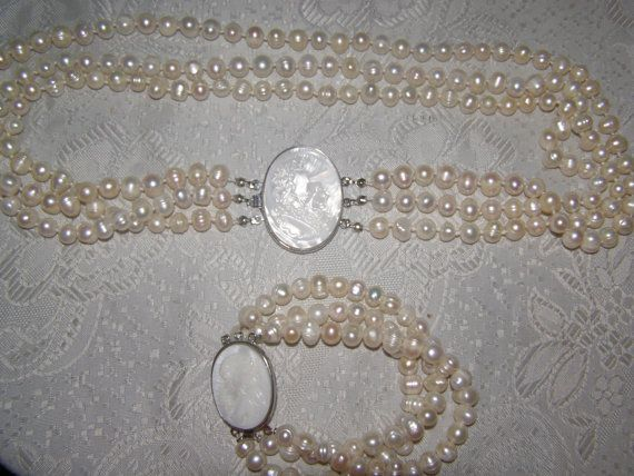 Cameo fresh water pearls jewelry set necklace and by Mpoulitsa