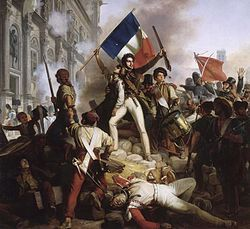 The French Revolution of 1830, also known as the July Revolution, Second French Revolution saw the overthrow of King Charles X, the French Bourbon monarch, and the ascent of his cousin Louis-Philippe, Duke of Orléans, who himself, after 18 precarious years on the throne, would in turn be overthrown. It marked the shift from one constitutional monarchy, the Bourbon Restoration, to another, the July Monarchy; and the substitution of the principle of popular sovereignty for hereditary right.