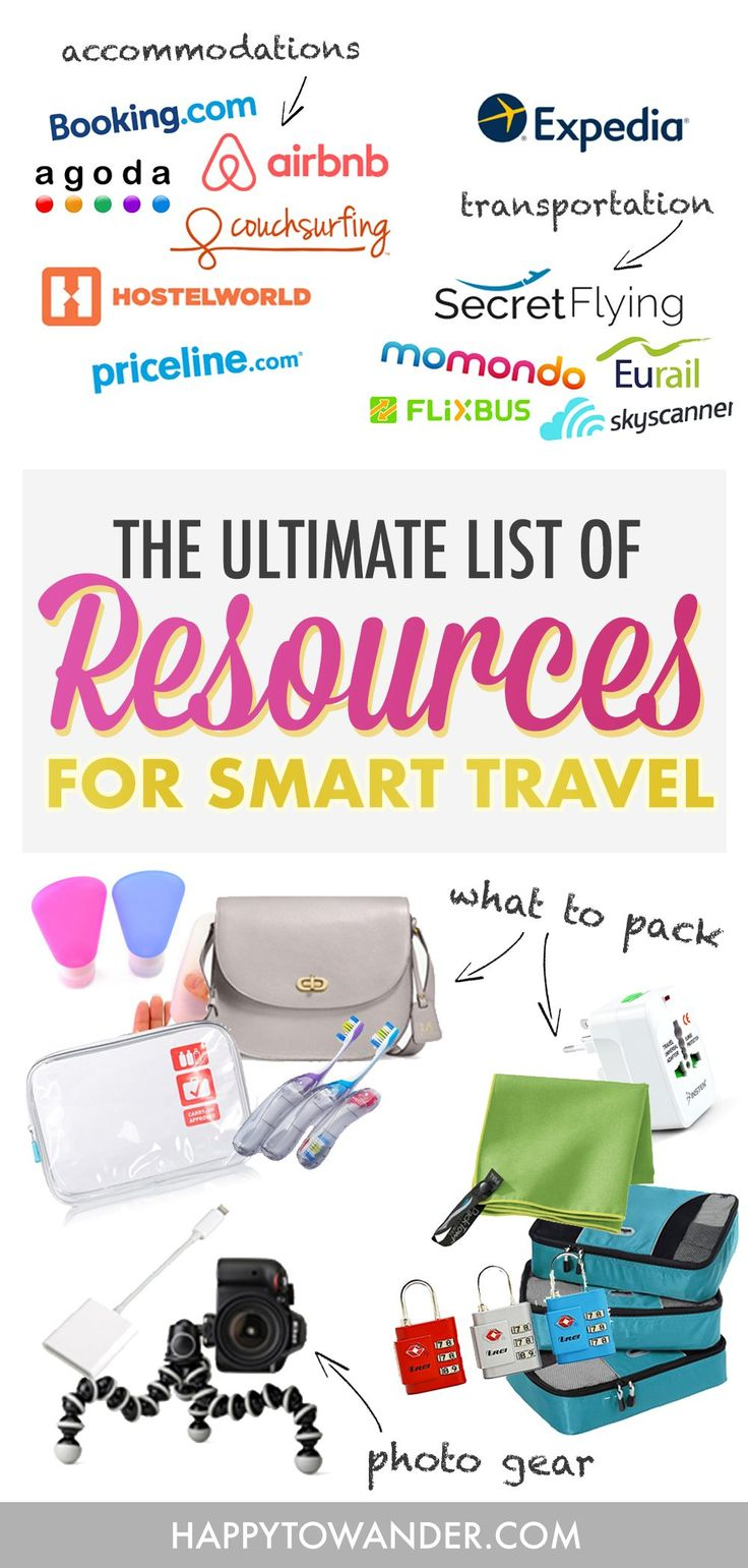 BEST list ever. A must-pin for future travels! Features the best websites to use for cheap flights, accommodations, activities, what to pack, what insurance to choose and more.