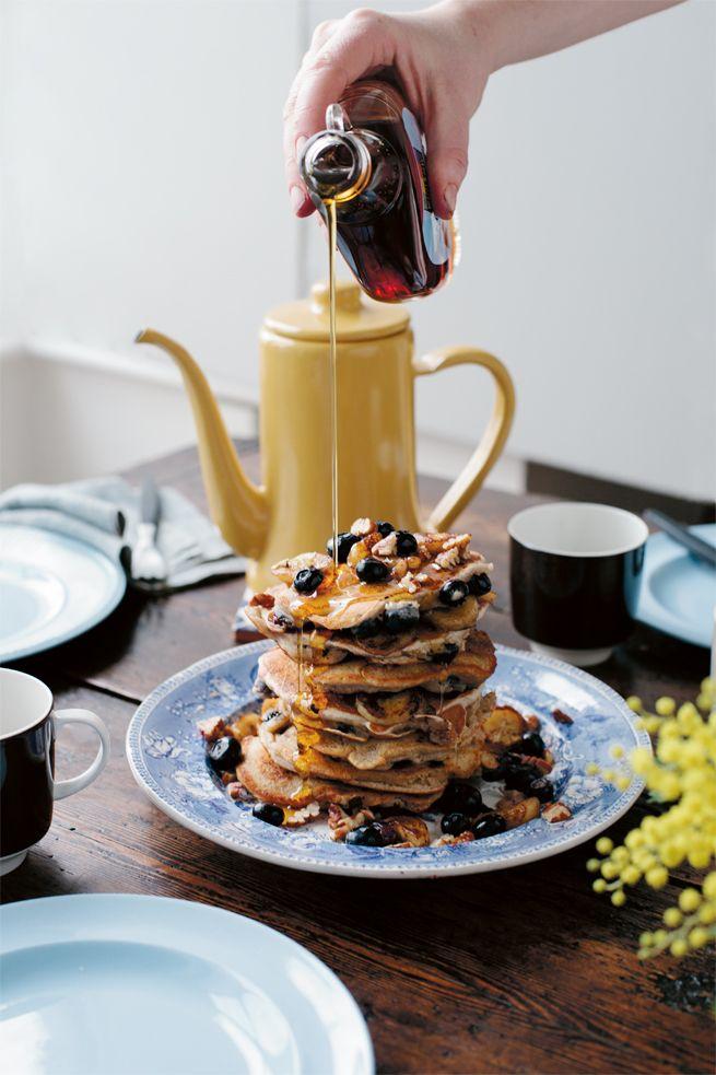 Banana Blueberry pancakes (gluten free) Anna Jones vegetarian cookbook Jamie Oliver | Food