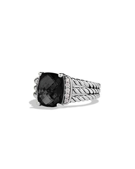 david yurman petite wheaton ring with black onyx and diamonds in gold