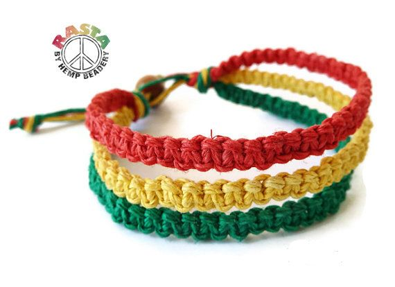 Rasta Hemp Bracelet Reggae Colors   Beach Jewelry  by HempBeadery, $7.95