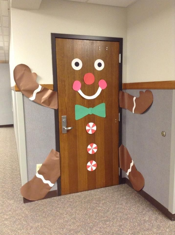 If you have a wood or brown door, this gingerbread classroom door design would be easy to do.