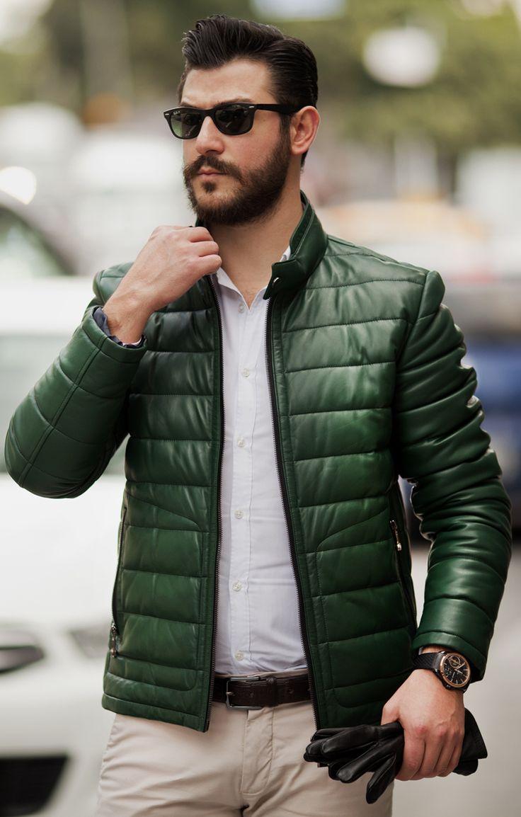 Green men's leather jacket by #ADAMOFUR #sport #leatherjacket #dapper #menstyle #mensfashion #ootd #look
