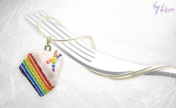 Rainbow Cake Necklace, Mini Food Jewelry, Foodie gift, Cake Jewelry, Rainbow Pendant, Gift under 30, Birthday gift, Rainbow Charm Colorful