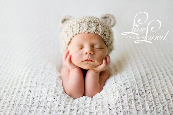 Newborn Baby Bear Hat Knit Bear Hat Baby Hat Beanie by PhylPhil