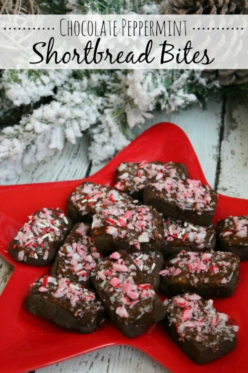 Chocolate peppermint shortbread bites. These are sure to be a holiday hit!