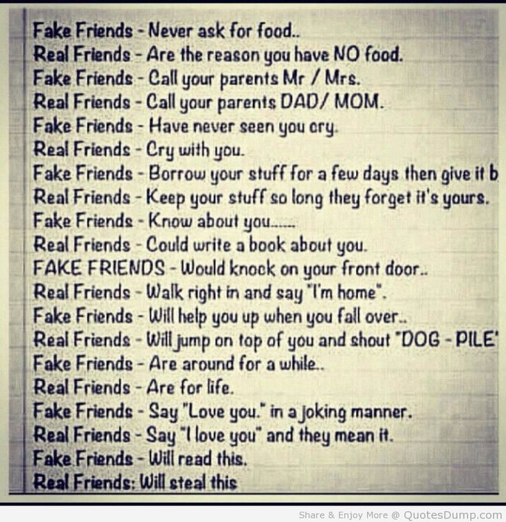Real Friends vs Fake Friends quote