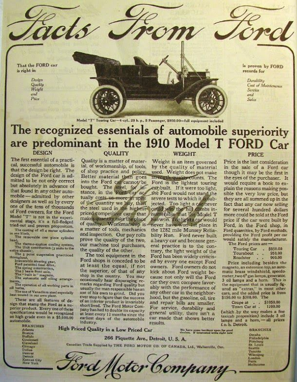Early Advertisements of Ford Motor Company from the 1900s