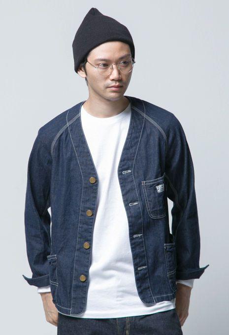 【BLUE BLUE】デニム ノーカラーカバーオールジャケット