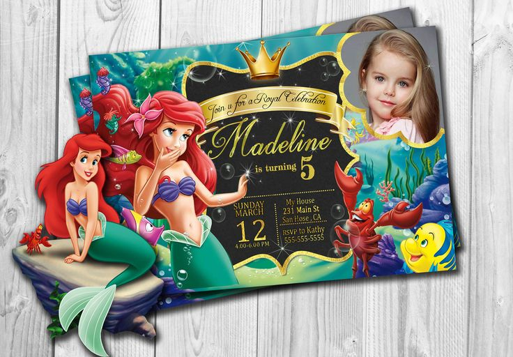 Little Mermaid  Invitation, Little Mermaid Birthday Invitation ,Little Mermaid Party, Ariel, Under The Sea, Free thank you Cards by PrintsForParty on Etsy https://www.etsy.com/listing/516437992/little-mermaid-invitation-little-mermaid