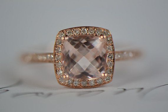 cushion Cut 7mm VVS 2.07CT Morganite Diamonds Prongs by 4YOURSELF