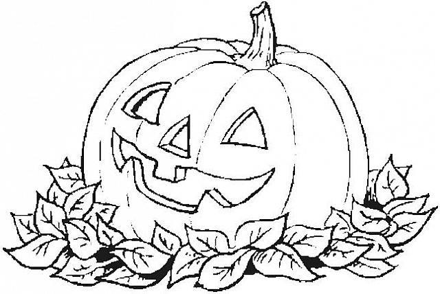 Zucca Di Halloween Con Foglie Disegno Da Colorare Disegni