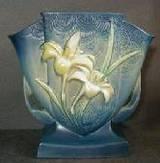 Roseville Pottery vase with popular Zephyr Lilly motif