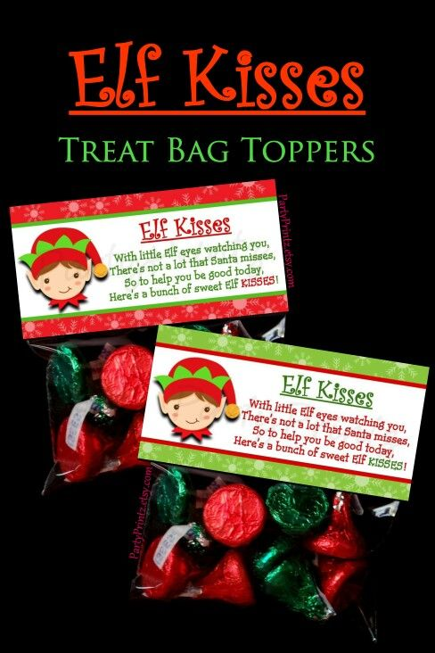 Elf Kisses - Treat Bag Toppers by PartyPrintz.etsy.com