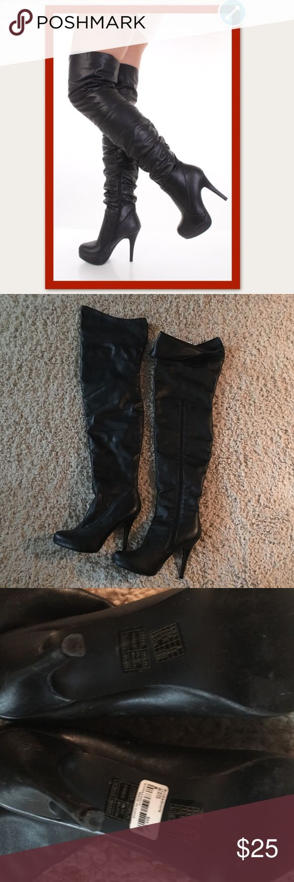 Black thigh high boots Great condition. Worn twice they have a wide calf & thigh Shoes Heeled Boots