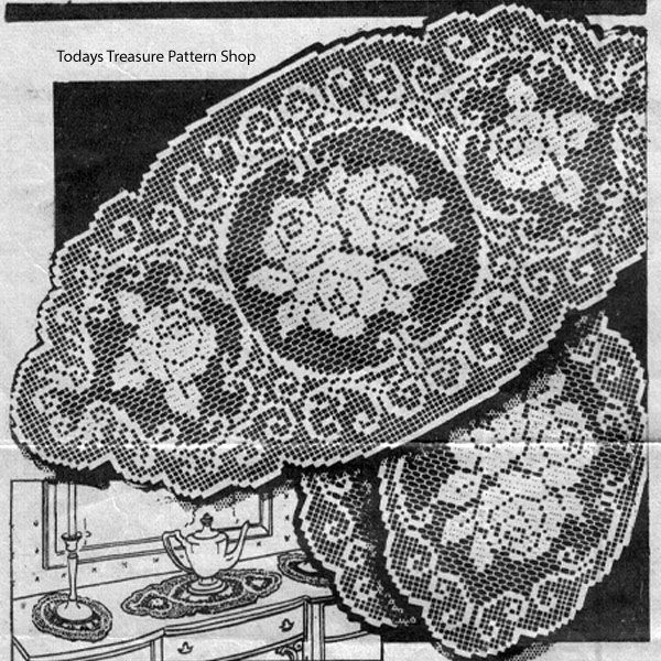 Rose Filet Crochet Doilies Pattern Alice Brooks 6729